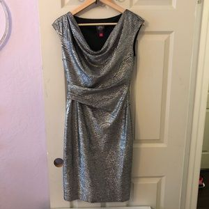 Vince Camuto silver metallic dress